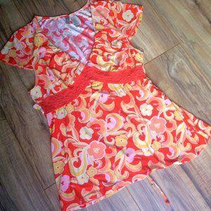 Orange/Yellow Floral Print Cap Sleeved Top